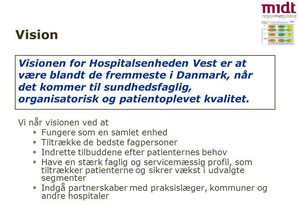 Vision Vi når visionen ved at  Fungere som en samlet enhed  Tiltrække de bedste fagpersoner  Indrette tilbuddene efter patienternes behov  Have en stærk faglig og servicemæssig profil, som tiltrækker patienterne og sikrer vækst i udvalgte segmenter  Indgå partnerskaber med praksislæger, kommuner og andre hospitaler Visionen for Hospitalsenheden Vest er at være blandt de fremmeste i Danmark, når det kommer til sundhedsfaglig, organisatorisk og patientoplevet kvalitet.