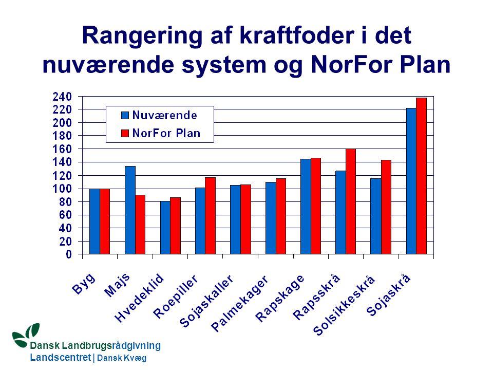 Dansk Landbrugsrådgivning Landscentret | Dansk Kvæg S:\SUNDFODE\OEA\Fodringsdag 2004\Ole Aaes.ppt Rangering af kraftfoder i det nuværende system og NorFor Plan