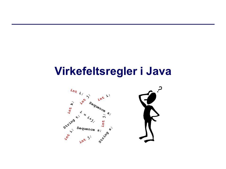 Virkefeltsregler i Java int i; int j; int k; i = i+j; String t; Sequence s; int i; int j; Sequence s; String s; int i; int j;