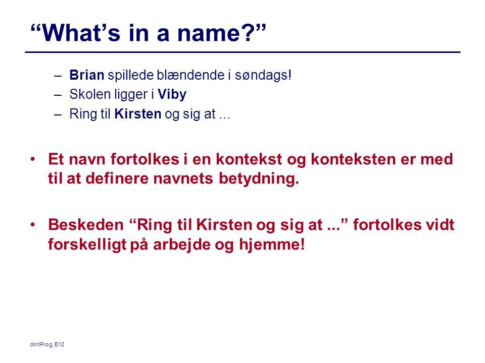 dIntProg, E12 What's in a name –Brian spillede blændende i søndags.