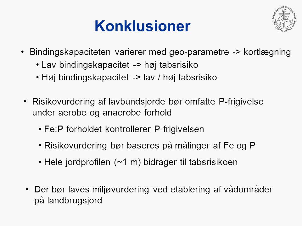 Konklusioner Bindingskapaciteten varierer med geo-parametre -> kortlægning Lav bindingskapacitet -> høj tabsrisiko Høj bindingskapacitet -> lav / høj tabsrisiko Risikovurdering af lavbundsjorde bør omfatte P-frigivelse under aerobe og anaerobe forhold Fe:P-forholdet kontrollerer P-frigivelsen Risikovurdering bør baseres på målinger af Fe og P Hele jordprofilen (~1 m) bidrager til tabsrisikoen Der bør laves miljøvurdering ved etablering af vådområder på landbrugsjord