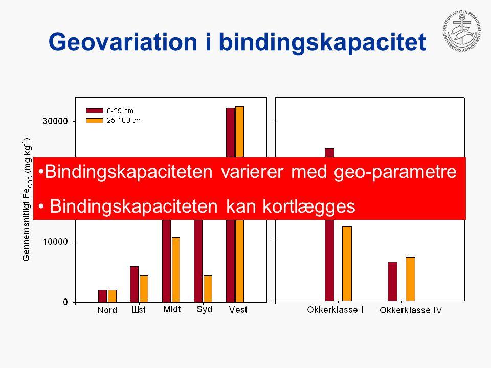 Bindingskapaciteten varierer med geo-parametre Bindingskapaciteten kan kortlægges