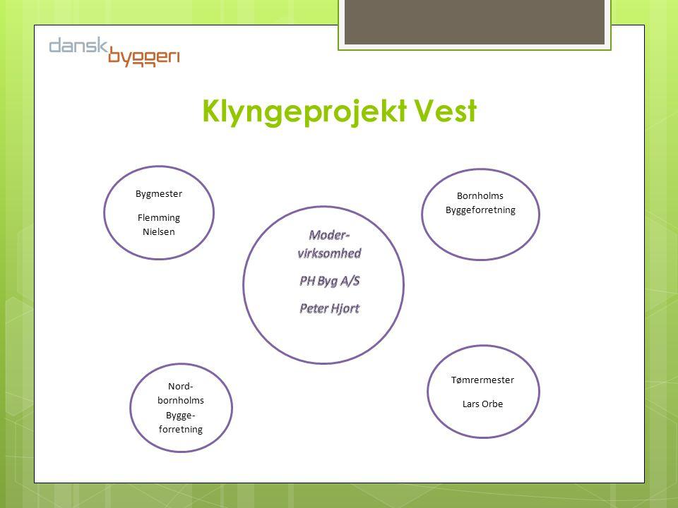 Klyngeprojekt Vest Bygmester Flemming Nielsen Bornholms Byggeforretning Nord- bornholms Bygge- forretning Tømrermester Lars Orbe