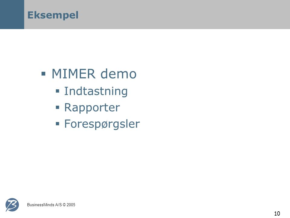 BusinessMinds A/S © 2005 10 Eksempel  MIMER demo  Indtastning  Rapporter  Forespørgsler