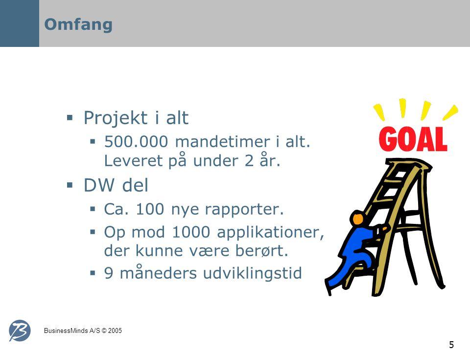 BusinessMinds A/S © 2005 5 Omfang  Projekt i alt  500.000 mandetimer i alt.