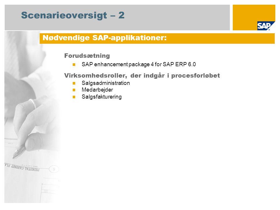 Scenarieoversigt – 2 Forudsætning SAP enhancement package 4 for SAP ERP 6.0 Virksomhedsroller, der indgår i procesforløbet Salgsadministration Medarbejder Salgsfakturering Nødvendige SAP-applikationer: