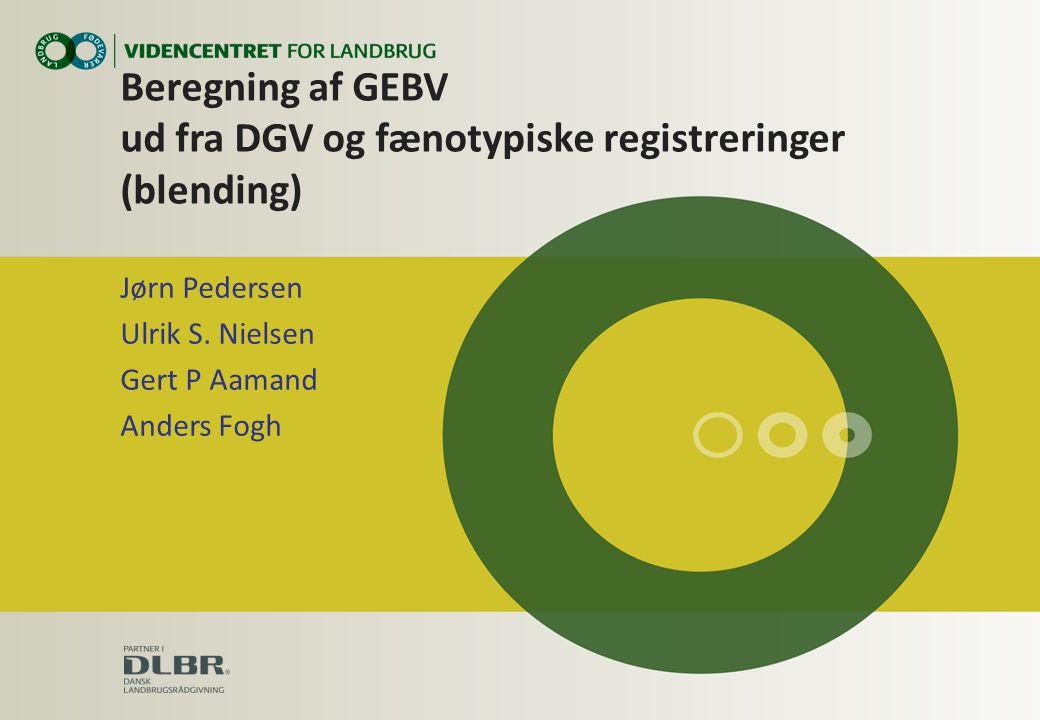 Beregning af GEBV ud fra DGV og fænotypiske registreringer (blending) Jørn Pedersen Ulrik S.