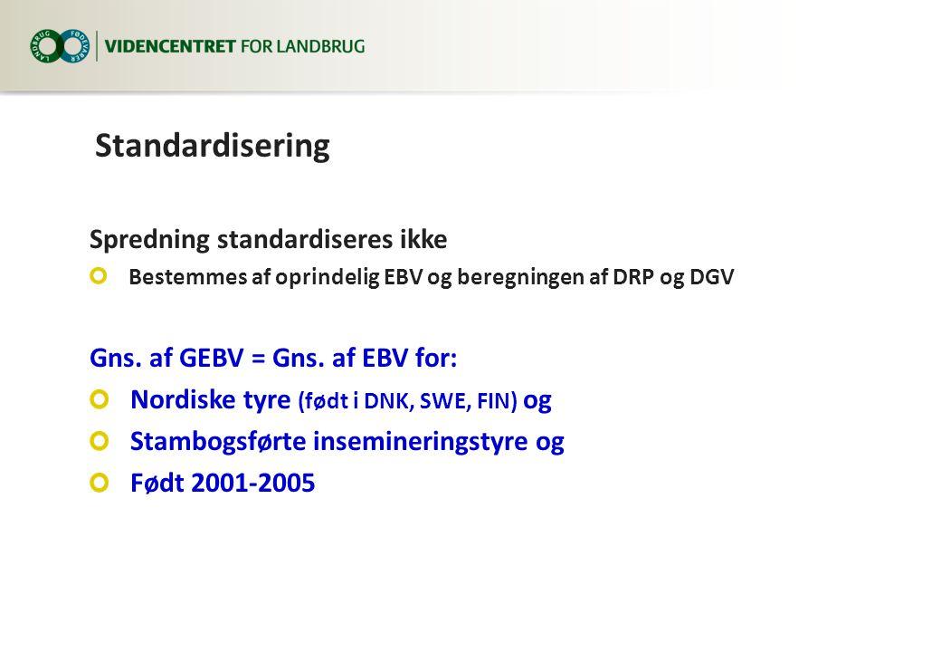 Standardisering Spredning standardiseres ikke Bestemmes af oprindelig EBV og beregningen af DRP og DGV Gns.