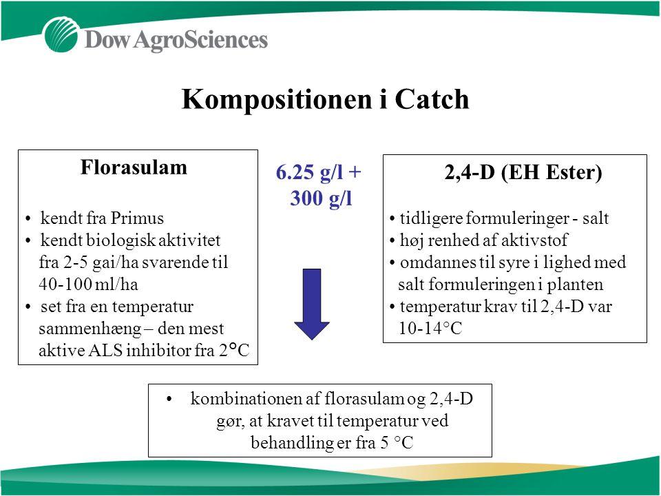Florasulam kendt fra Primus kendt biologisk aktivitet fra 2-5 gai/ha svarende til 40-100 ml/ha set fra en temperatur sammenhæng – den mest aktive ALS inhibitor fra 2°C 2,4-D (EH Ester) tidligere formuleringer - salt høj renhed af aktivstof omdannes til syre i lighed med salt formuleringen i planten temperatur krav til 2,4-D var 10-14°C Kompositionen i Catch 6.25 g/l + 300 g/l kombinationen af florasulam og 2,4-D gør, at kravet til temperatur ved behandling er fra 5 °C