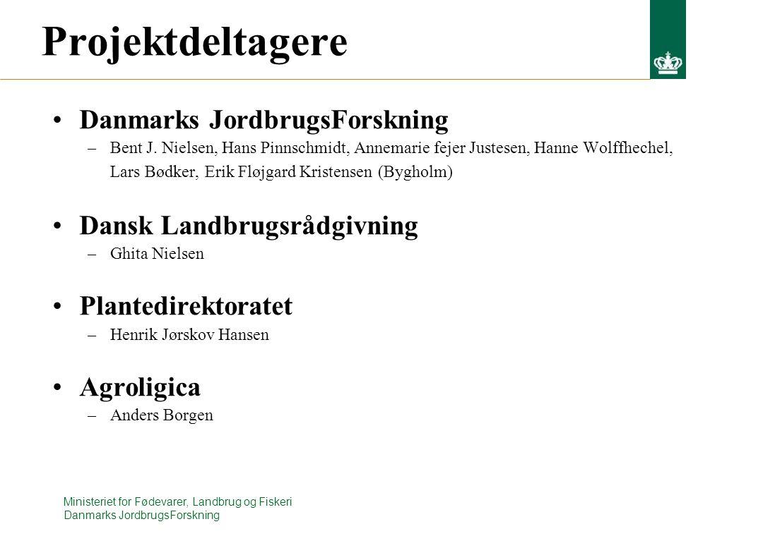 Ministeriet for Fødevarer, Landbrug og Fiskeri Danmarks JordbrugsForskning Projektdeltagere Danmarks JordbrugsForskning –Bent J.