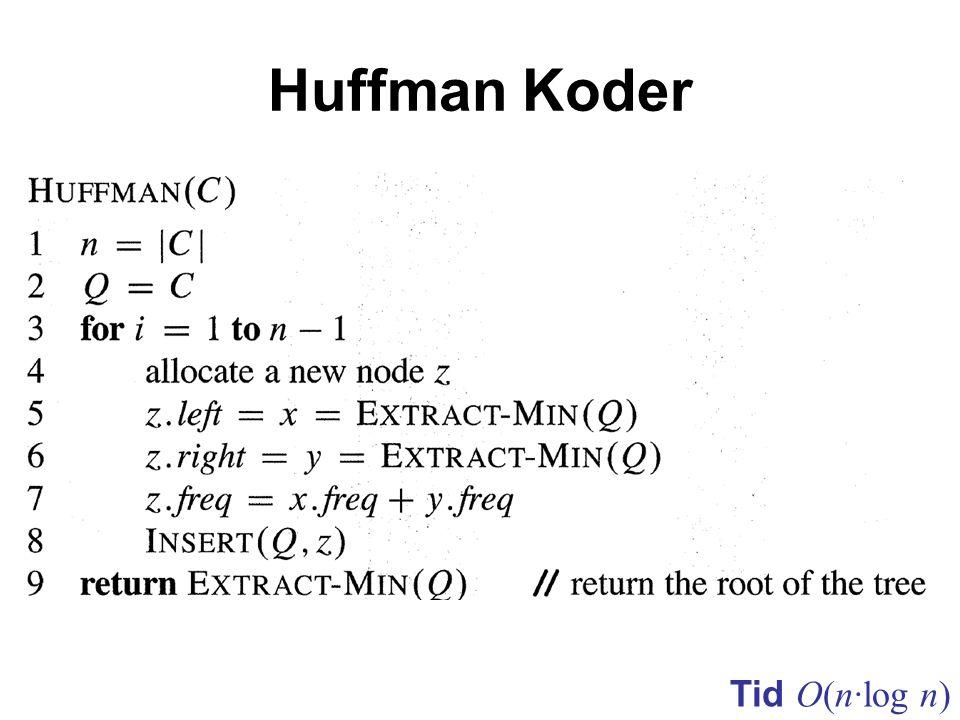 Huffman Koder Tid O(n·log n)
