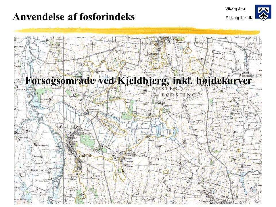 Anvendelse af fosforindeks Forsøgsområde ved Kjeldbjerg, inkl. højdekurver