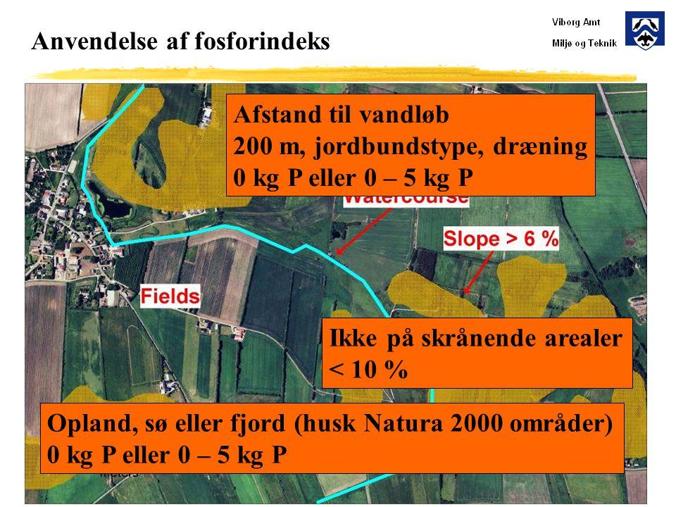 Anvendelse af fosforindeks Ikke på skrånende arealer < 10 % Afstand til vandløb 200 m, jordbundstype, dræning 0 kg P eller 0 – 5 kg P Opland, sø eller fjord (husk Natura 2000 områder) 0 kg P eller 0 – 5 kg P