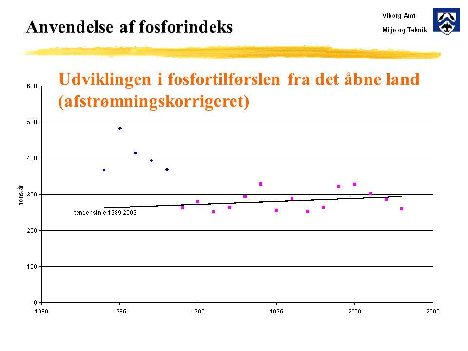 Anvendelse af fosforindeks Udviklingen i fosfortilførslen fra det åbne land (afstrømningskorrigeret)