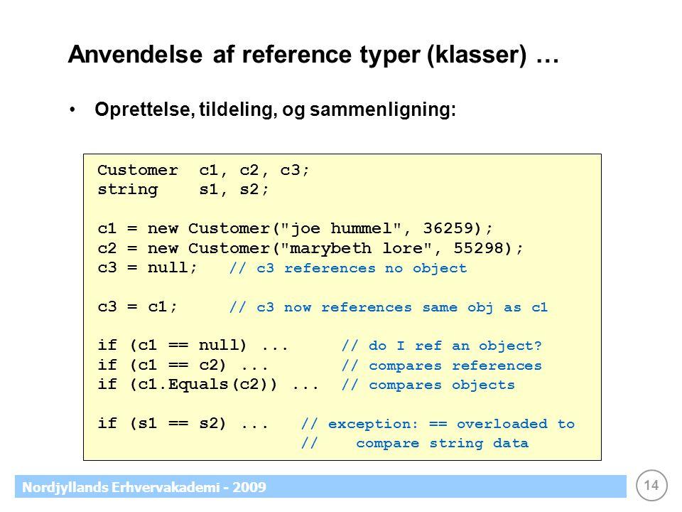14 Nordjyllands Erhvervakademi - 2009 Anvendelse af reference typer (klasser) … Oprettelse, tildeling, og sammenligning: Customer c1, c2, c3; string s1, s2; c1 = new Customer( joe hummel , 36259); c2 = new Customer( marybeth lore , 55298); c3 = null; // c3 references no object c3 = c1; // c3 now references same obj as c1 if (c1 == null)...