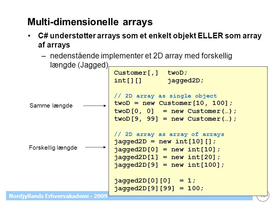 18 Nordjyllands Erhvervakademi - 2009 Multi-dimensionelle arrays C# understøtter arrays som et enkelt objekt ELLER som array af arrays –nedenstående implementer et 2D array med forskellig længde (Jagged) Customer[,] twoD; int[][] jagged2D; // 2D array as single object twoD = new Customer[10, 100]; twoD[0, 0] = new Customer(…); twoD[9, 99] = new Customer(…); // 2D array as array of arrays jagged2D = new int[10][]; jagged2D[0] = new int[10]; jagged2D[1] = new int[20]; jagged2D[9] = new int[100]; jagged2D[0][0] = 1; jagged2D[9][99] = 100; Samme længde Forskellig længde