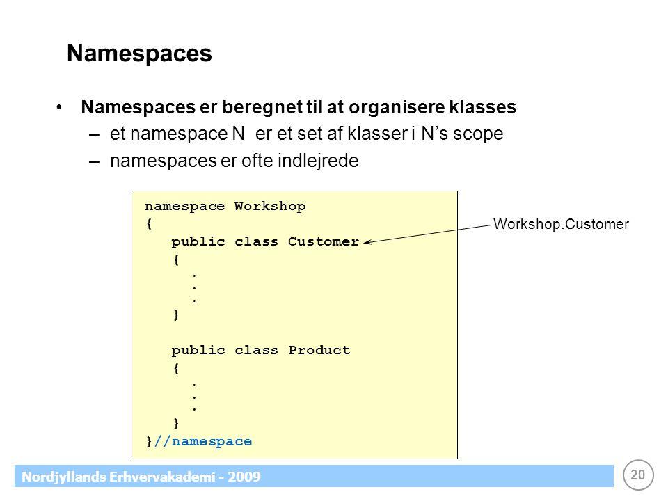 20 Nordjyllands Erhvervakademi - 2009 Namespaces Namespaces er beregnet til at organisere klasses –et namespace N er et set af klasser i N's scope –namespaces er ofte indlejrede namespace Workshop { public class Customer {.