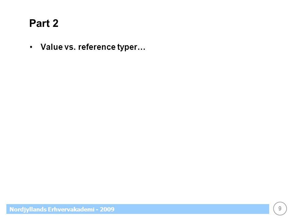9 Nordjyllands Erhvervakademi - 2009 Part 2 Value vs. reference typer…