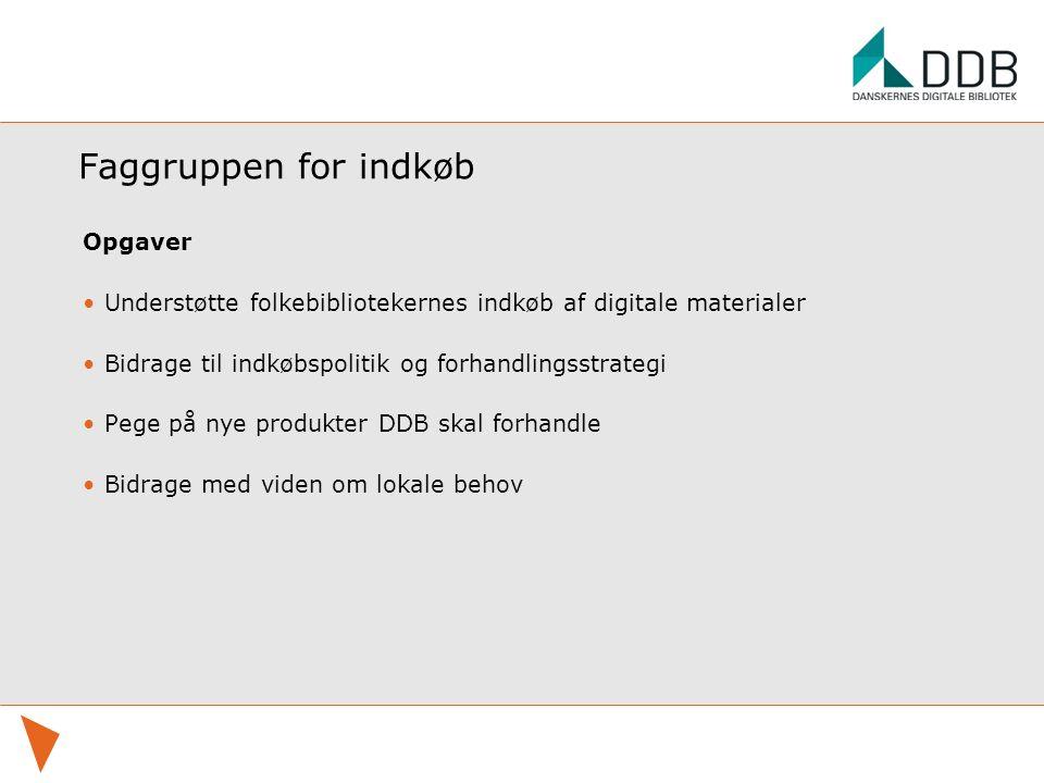 Faggruppen for indkøb Opgaver Understøtte folkebibliotekernes indkøb af digitale materialer Bidrage til indkøbspolitik og forhandlingsstrategi Pege på nye produkter DDB skal forhandle Bidrage med viden om lokale behov