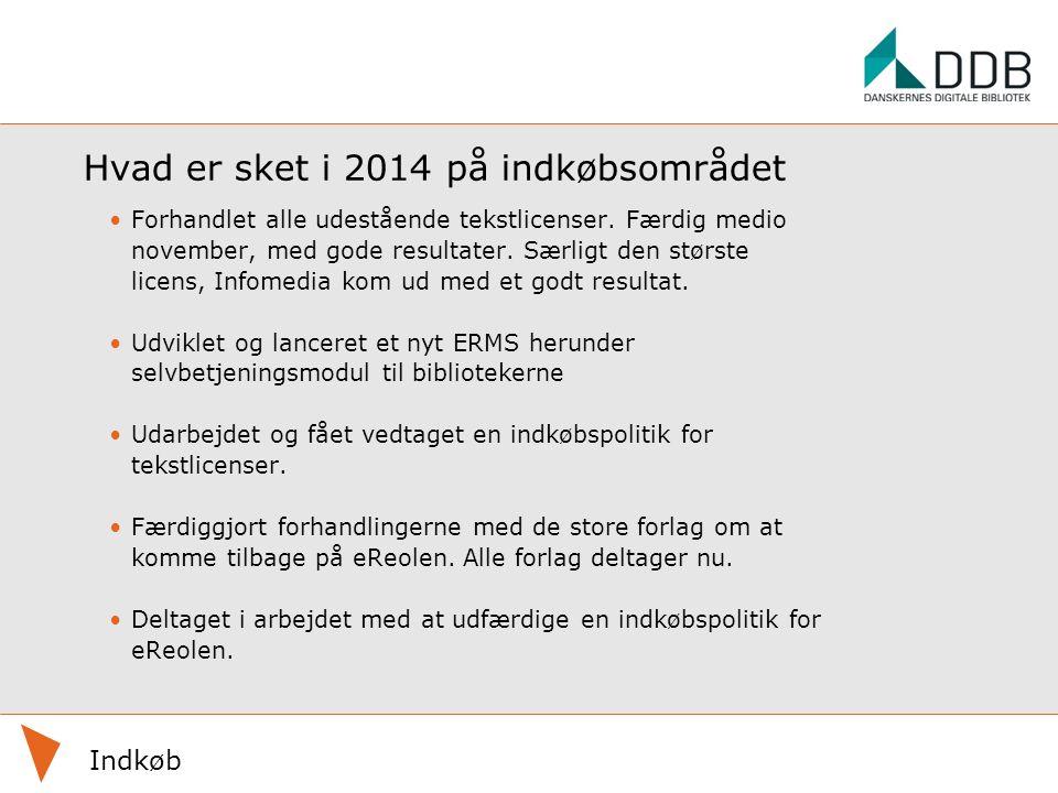 Hvad er sket i 2014 på indkøbsområdet Forhandlet alle udestående tekstlicenser.