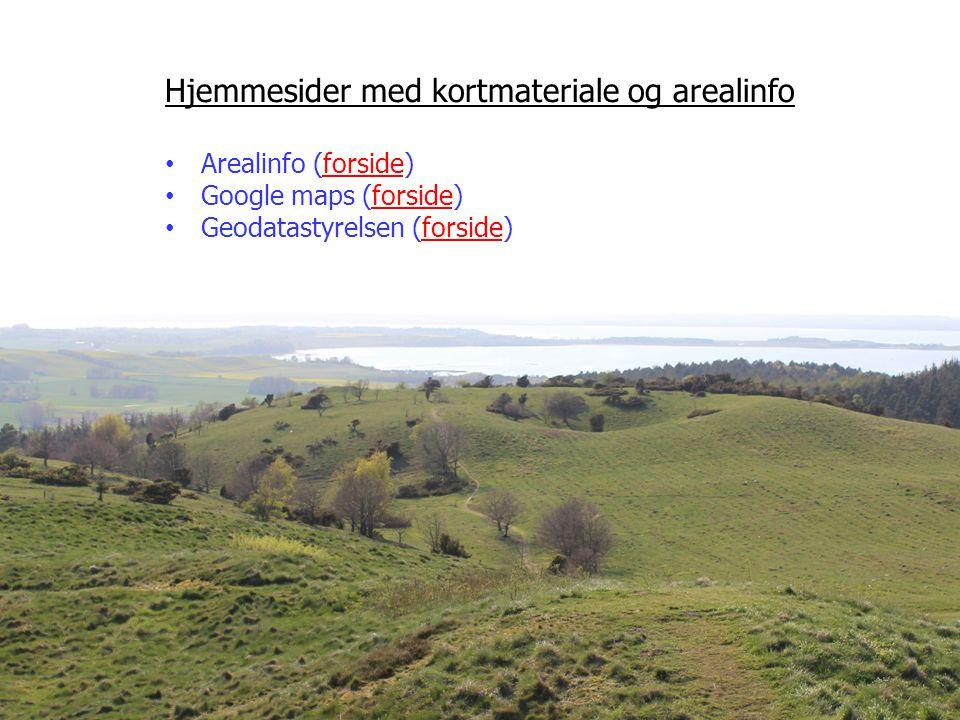 Hjemmesider med kortmateriale og arealinfo Arealinfo (forside)forside Google maps (forside)forside Geodatastyrelsen (forside)forside