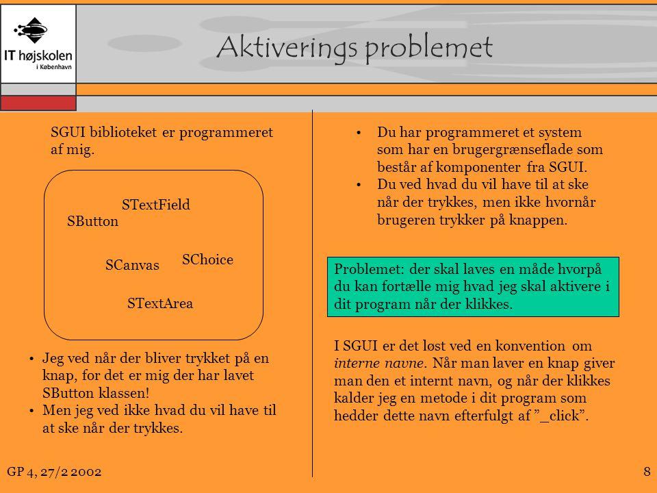GP 4, 27/2 20028 Aktiverings problemet SGUI biblioteket er programmeret af mig.