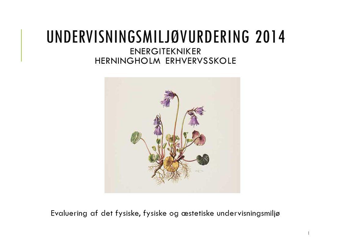 UNDERVISNINGSMILJØVURDERING 2014 ENERGITEKNIKER HERNINGHOLM ERHVERVSSKOLE Evaluering af det fysiske, fysiske og æstetiske undervisningsmiljø 1