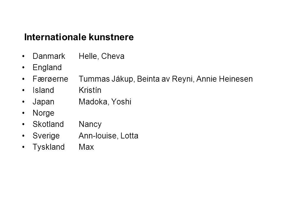 Internationale kunstnere DanmarkHelle, Cheva England FærøerneTummas Jákup, Beinta av Reyni, Annie Heinesen IslandKristín JapanMadoka, Yoshi Norge SkotlandNancy SverigeAnn-louise, Lotta TysklandMax