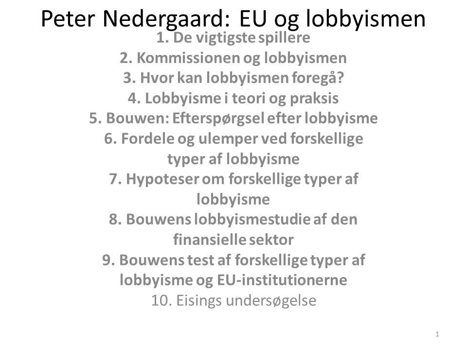 Peter Nedergaard: EU og lobbyismen 1. De vigtigste spillere 2.