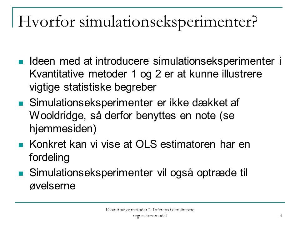 Kvantitative metoder 2: Inferens i den lineære regressionsmodel 4 Hvorfor simulationseksperimenter.