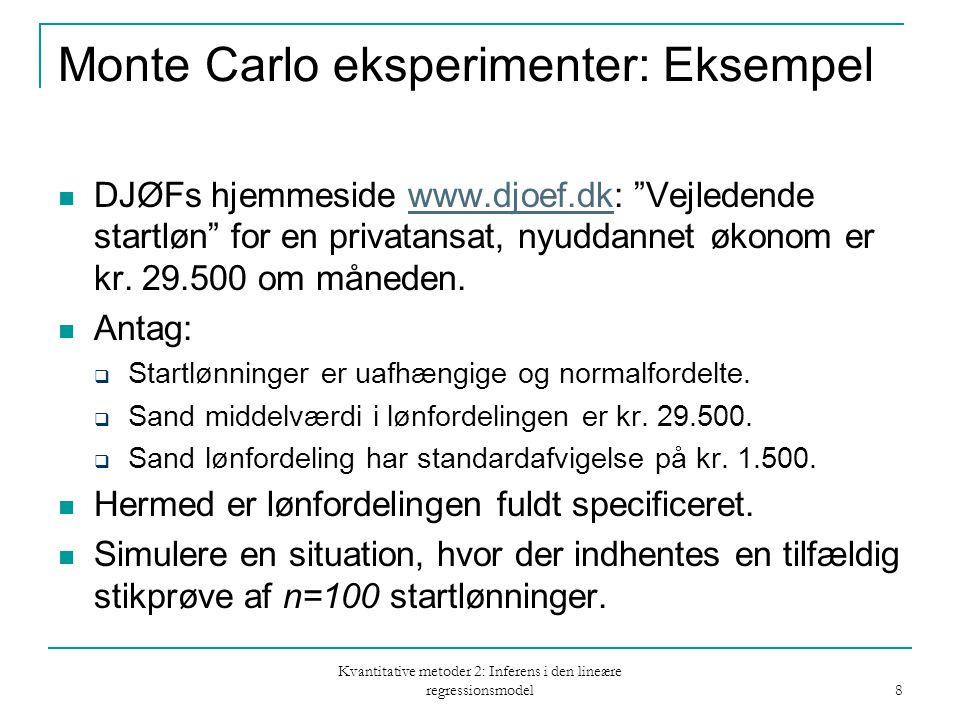 Kvantitative metoder 2: Inferens i den lineære regressionsmodel 8 Monte Carlo eksperimenter: Eksempel DJØFs hjemmeside www.djoef.dk: Vejledende startløn for en privatansat, nyuddannet økonom er kr.