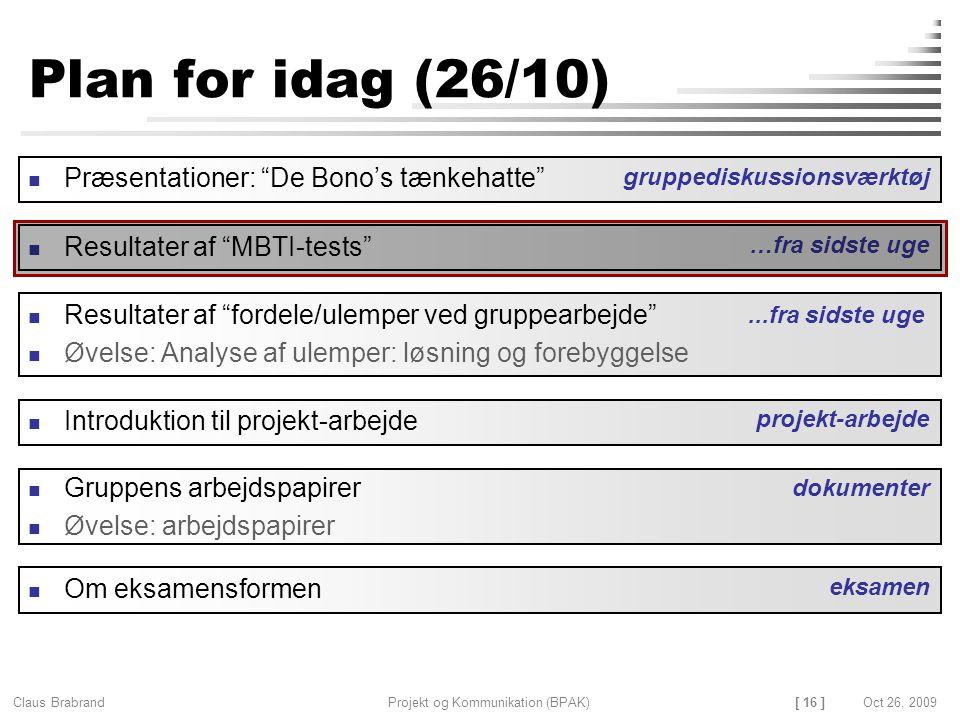 [ 16 ] Claus Brabrand Projekt og Kommunikation (BPAK)Oct 26, 2009 Plan for idag (26/10) Gruppens arbejdspapirer Øvelse: arbejdspapirer Resultater af fordele/ulemper ved gruppearbejde Øvelse: Analyse af ulemper: løsning og forebyggelse dokumenter Introduktion til projekt-arbejde projekt-arbejde...fra sidste uge Præsentationer: De Bono's tænkehatte gruppediskussionsværktøj Resultater af MBTI-tests …fra sidste uge Om eksamensformen eksamen