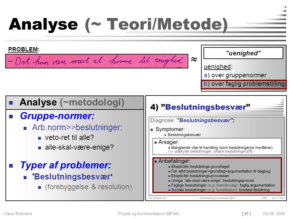 [ 29 ] Claus Brabrand Projekt og Kommunikation (BPAK)Oct 26, 2009 Analyse (~ Teori/Metode) Gruppe-normer: Arb.norm>>beslutninger: veto-ret til alle.