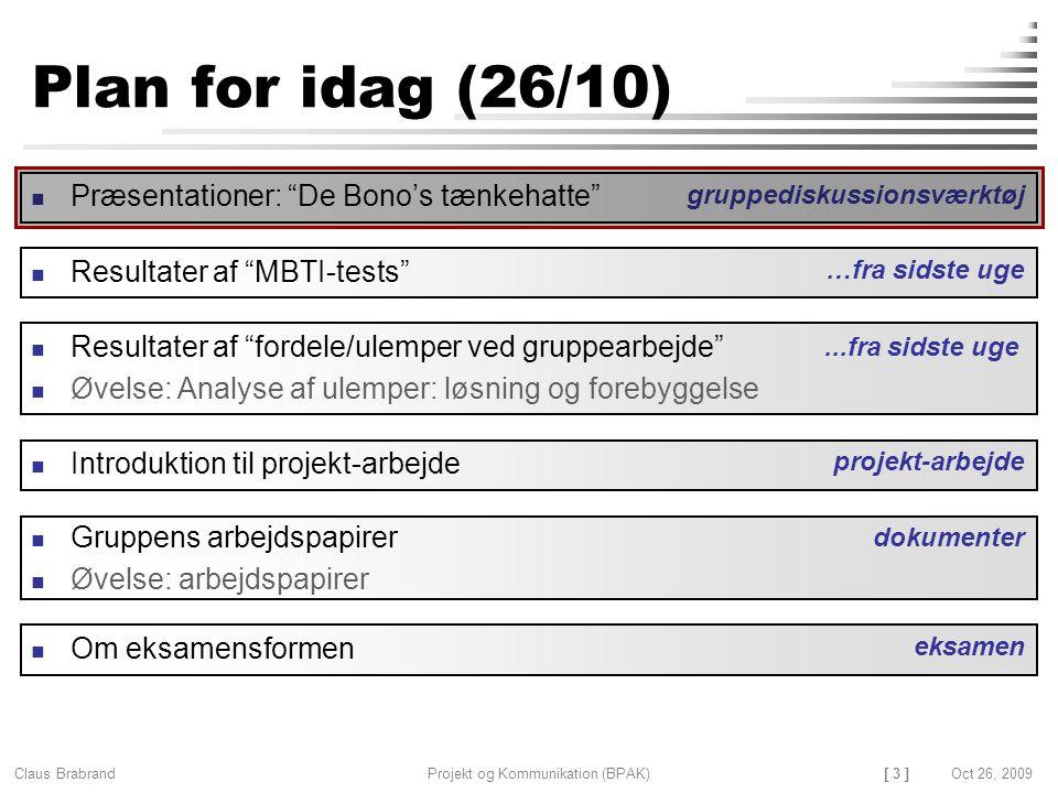 [ 3 ] Claus Brabrand Projekt og Kommunikation (BPAK)Oct 26, 2009 Plan for idag (26/10) Gruppens arbejdspapirer Øvelse: arbejdspapirer Resultater af fordele/ulemper ved gruppearbejde Øvelse: Analyse af ulemper: løsning og forebyggelse dokumenter Introduktion til projekt-arbejde projekt-arbejde...fra sidste uge Præsentationer: De Bono's tænkehatte gruppediskussionsværktøj Resultater af MBTI-tests …fra sidste uge Om eksamensformen eksamen