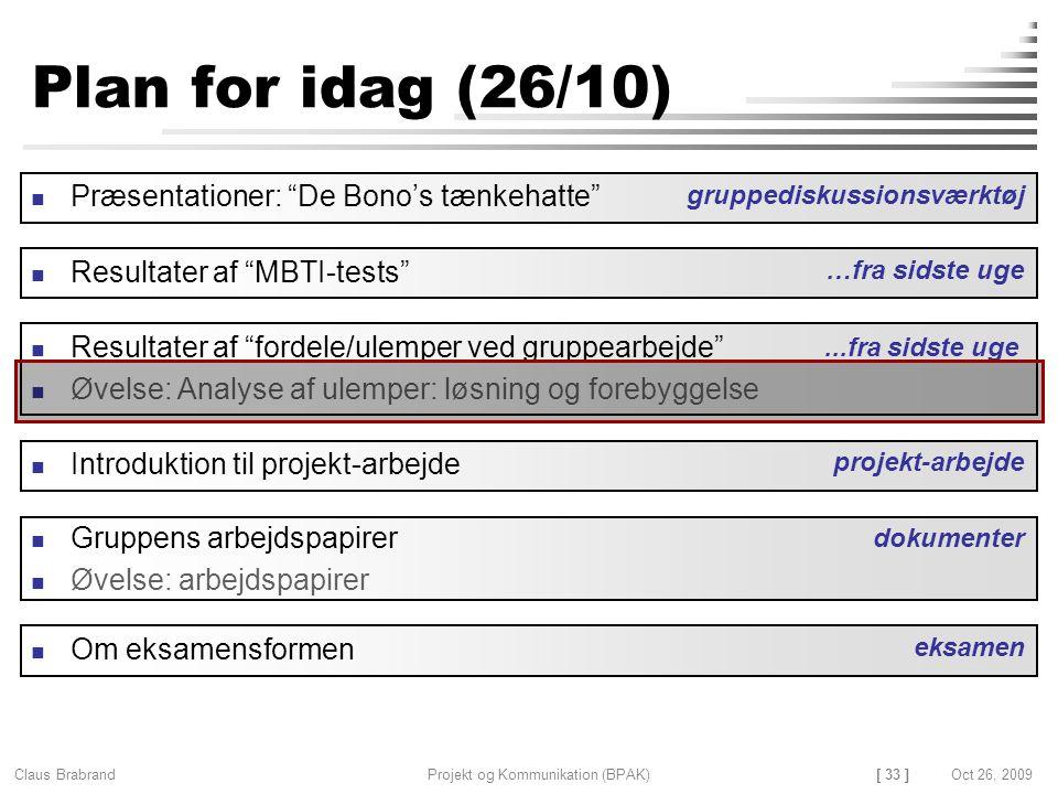 [ 33 ] Claus Brabrand Projekt og Kommunikation (BPAK)Oct 26, 2009 Plan for idag (26/10) Gruppens arbejdspapirer Øvelse: arbejdspapirer Resultater af fordele/ulemper ved gruppearbejde Øvelse: Analyse af ulemper: løsning og forebyggelse dokumenter Introduktion til projekt-arbejde projekt-arbejde...fra sidste uge Præsentationer: De Bono's tænkehatte gruppediskussionsværktøj Resultater af MBTI-tests …fra sidste uge Om eksamensformen eksamen