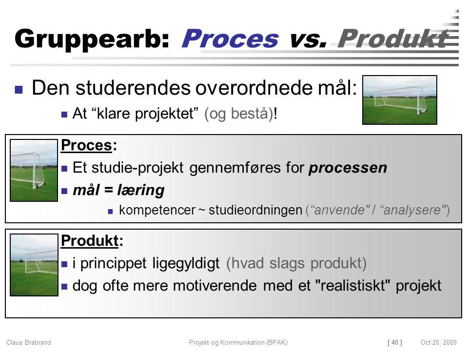[ 40 ] Claus Brabrand Projekt og Kommunikation (BPAK)Oct 26, 2009 Gruppearb: Proces vs.