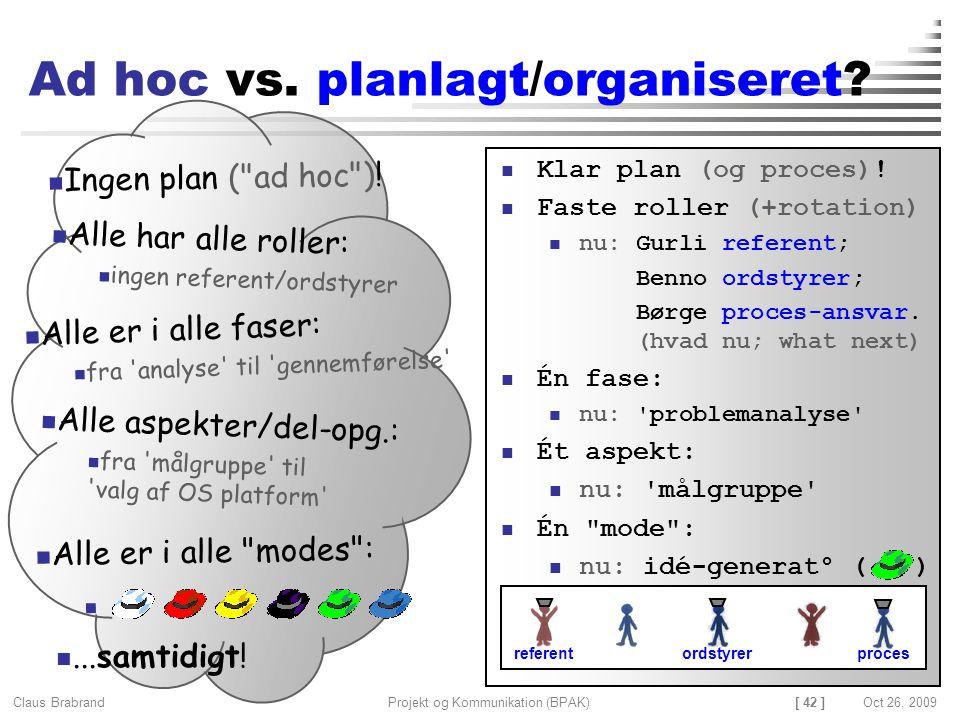 [ 42 ] Claus Brabrand Projekt og Kommunikation (BPAK)Oct 26, 2009 Ad hoc vs.
