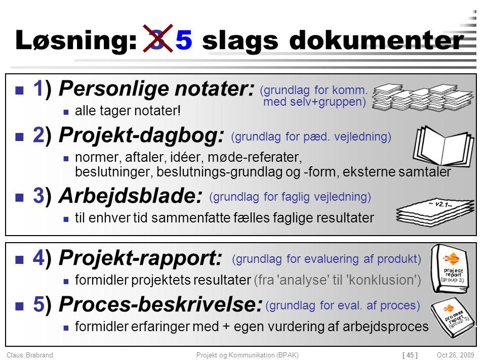 [ 45 ] Claus Brabrand Projekt og Kommunikation (BPAK)Oct 26, 2009 Løsning: 3 slags dokumenter 1) Personlige notater: alle tager notater.