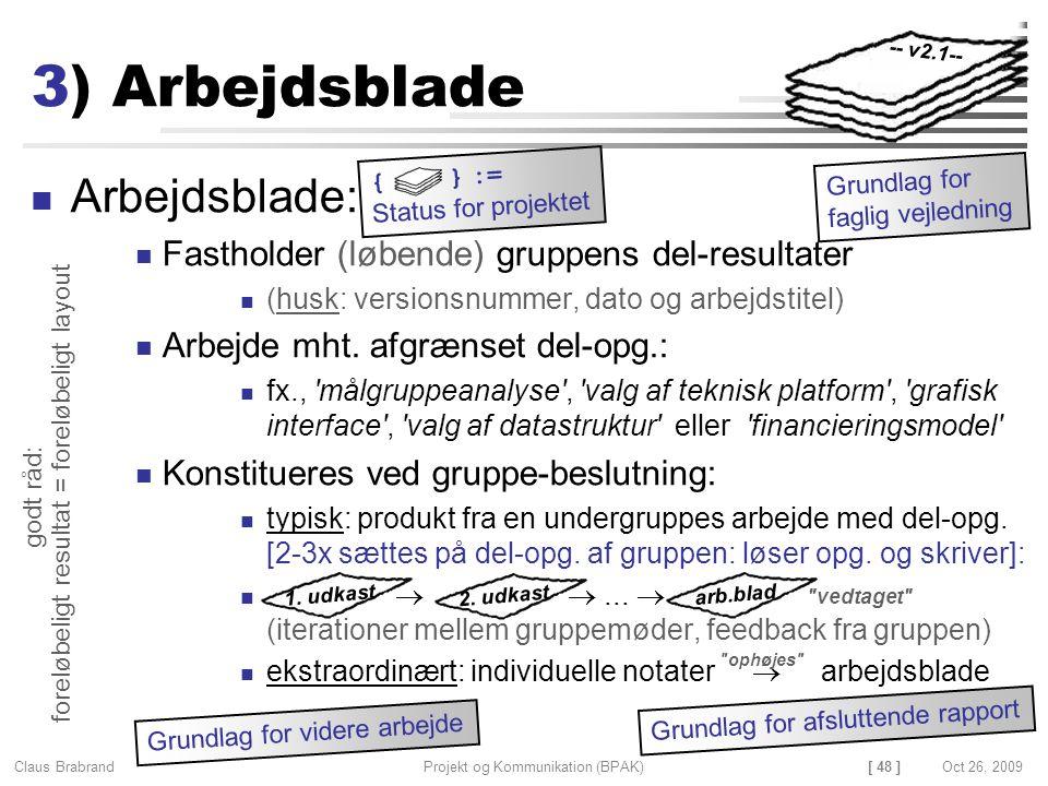 [ 48 ] Claus Brabrand Projekt og Kommunikation (BPAK)Oct 26, 2009 3) Arbejdsblade Arbejdsblade: Fastholder (løbende) gruppens del-resultater (husk: versionsnummer, dato og arbejdstitel) Arbejde mht.