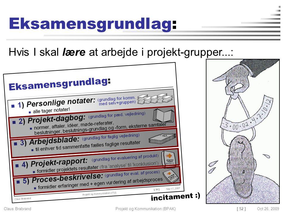 [ 52 ] Claus Brabrand Projekt og Kommunikation (BPAK)Oct 26, 2009 Eksamensgrundlag: Hvis I skal lære at arbejde i projekt-grupper...: Eksamensgrundlag: incitament :)