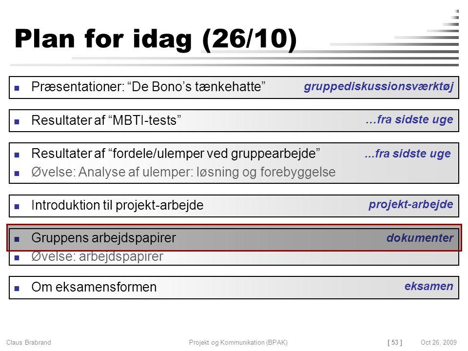 [ 53 ] Claus Brabrand Projekt og Kommunikation (BPAK)Oct 26, 2009 Plan for idag (26/10) Gruppens arbejdspapirer Øvelse: arbejdspapirer Resultater af fordele/ulemper ved gruppearbejde Øvelse: Analyse af ulemper: løsning og forebyggelse dokumenter Introduktion til projekt-arbejde projekt-arbejde...fra sidste uge Præsentationer: De Bono's tænkehatte gruppediskussionsværktøj Resultater af MBTI-tests …fra sidste uge Om eksamensformen eksamen