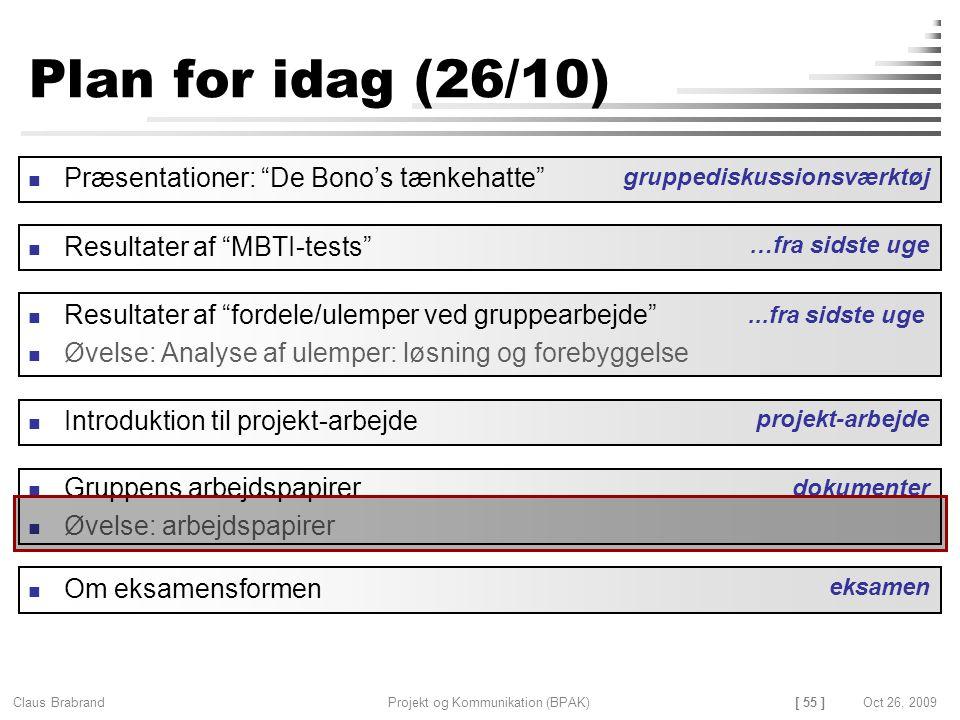 [ 55 ] Claus Brabrand Projekt og Kommunikation (BPAK)Oct 26, 2009 Plan for idag (26/10) Gruppens arbejdspapirer Øvelse: arbejdspapirer Resultater af fordele/ulemper ved gruppearbejde Øvelse: Analyse af ulemper: løsning og forebyggelse dokumenter Introduktion til projekt-arbejde projekt-arbejde...fra sidste uge Præsentationer: De Bono's tænkehatte gruppediskussionsværktøj Resultater af MBTI-tests …fra sidste uge Om eksamensformen eksamen