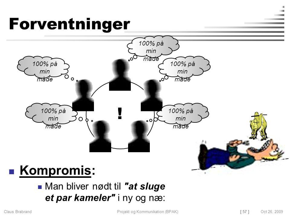 [ 57 ] Claus Brabrand Projekt og Kommunikation (BPAK)Oct 26, 2009 Forventninger Kompromis: Man bliver nødt til at sluge et par kameler i ny og næ: 100% på min måde !