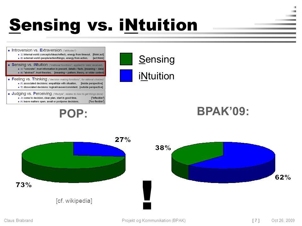 [ 7 ] Claus Brabrand Projekt og Kommunikation (BPAK)Oct 26, 2009 Sensing vs.