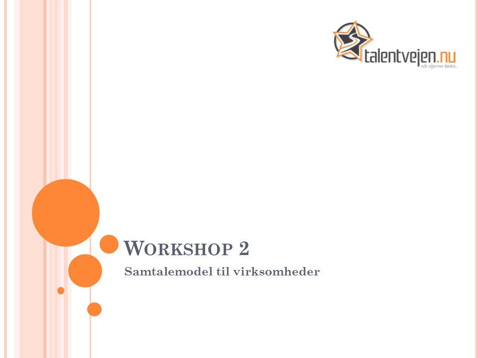 W ORKSHOP 2 Samtalemodel til virksomheder