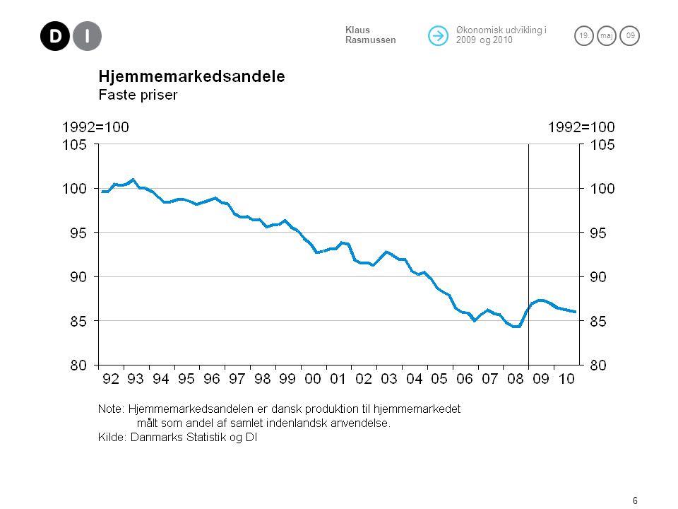 Økonomisk udvikling i 2009 og 2010 19.maj 09 Klaus Rasmussen 6