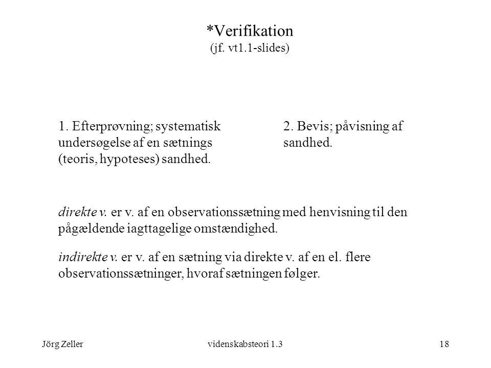 Jörg Zellervidenskabsteori 1.318 *Verifikation (jf.