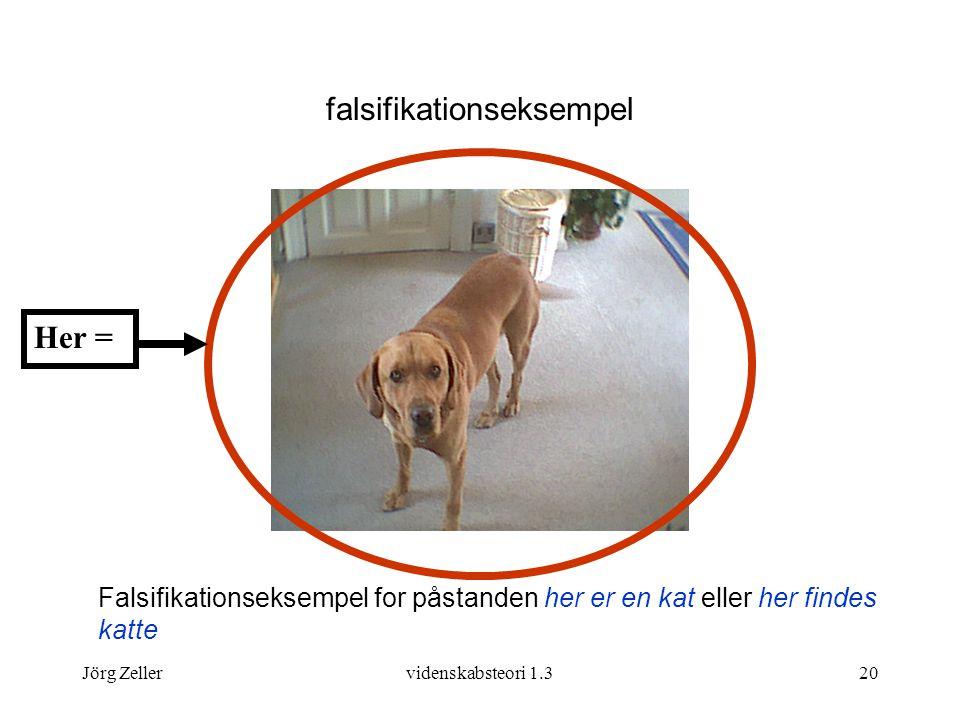 Jörg Zellervidenskabsteori 1.320 Falsifikationseksempel for påstanden her er en kat eller her findes katte Her = falsifikationseksempel