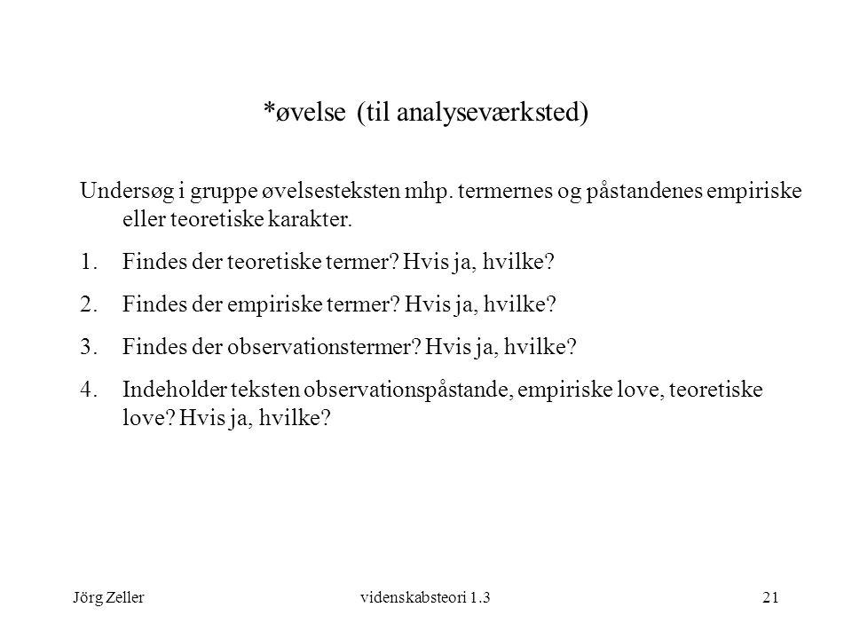 Jörg Zellervidenskabsteori 1.321 *øvelse (til analyseværksted) Undersøg i gruppe øvelsesteksten mhp.