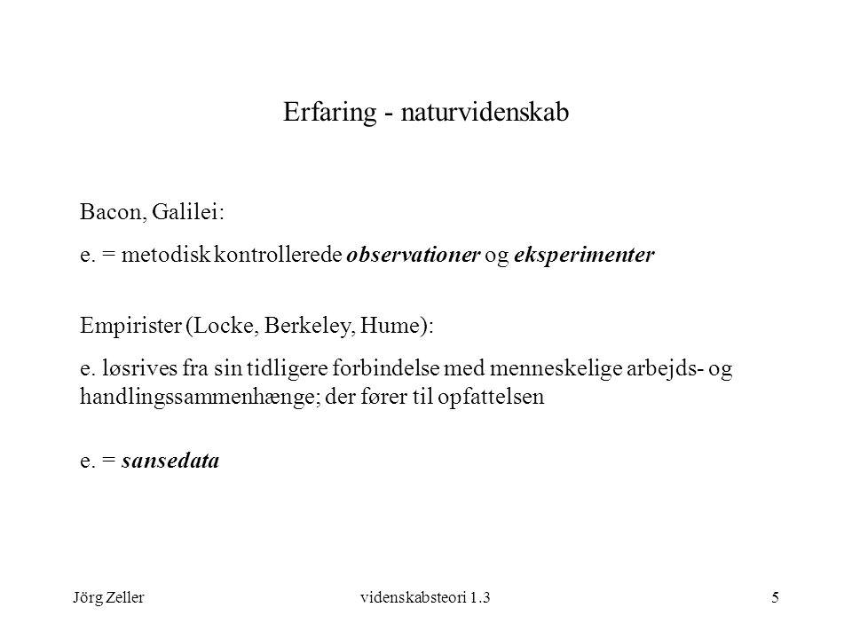 Jörg Zellervidenskabsteori 1.35 Erfaring - naturvidenskab Bacon, Galilei: e.